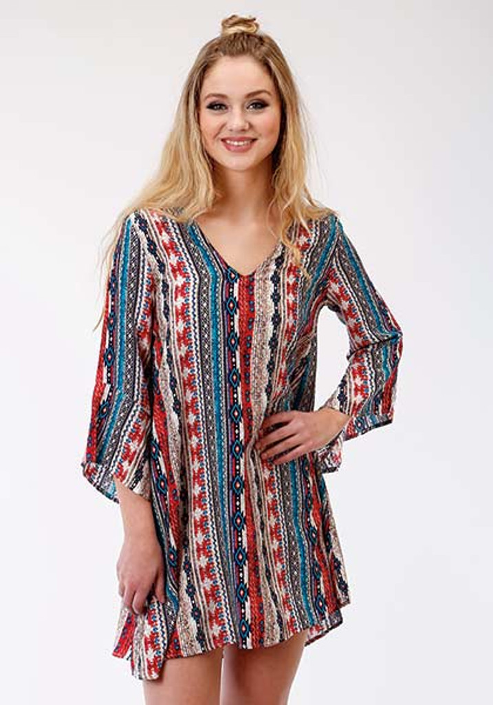 Women's Roper Dress, Bell Sleeve, Red, White and Blue Aztec Print