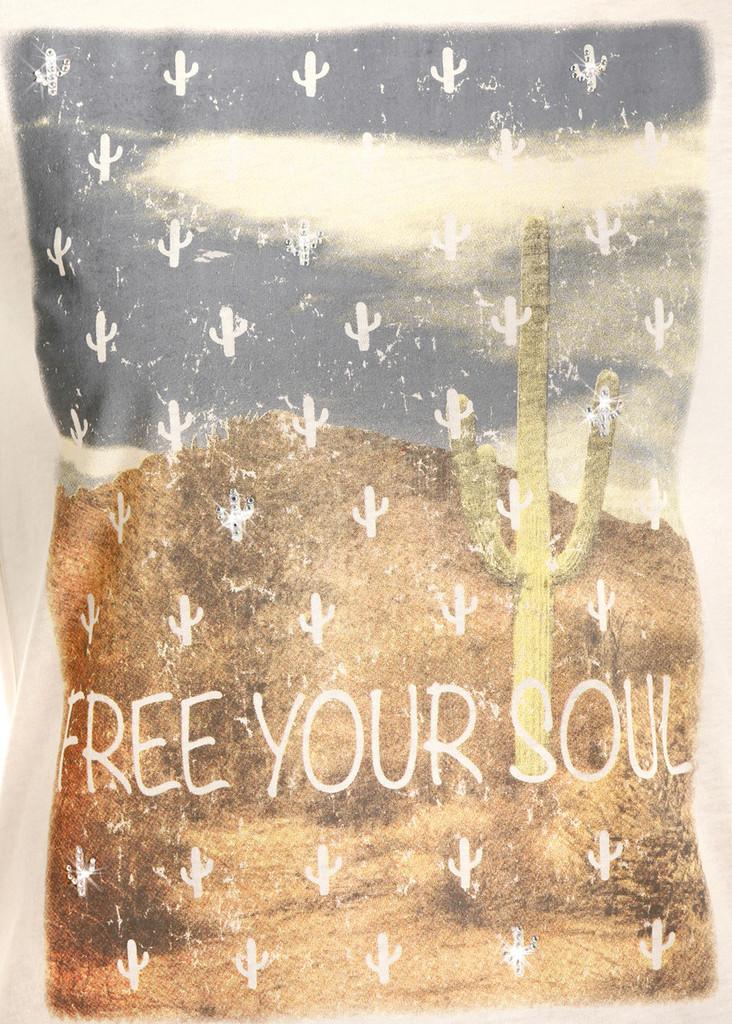 "Women's Rock & Roll Tee, Raglan with Cactus, ""Free Your Soul"""