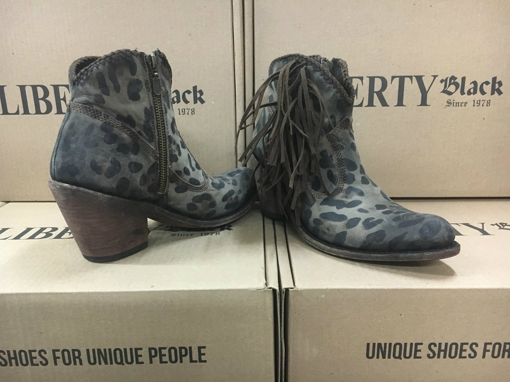 Women's Liberty Black Boots, Ankle, Cheetah  with Fringe