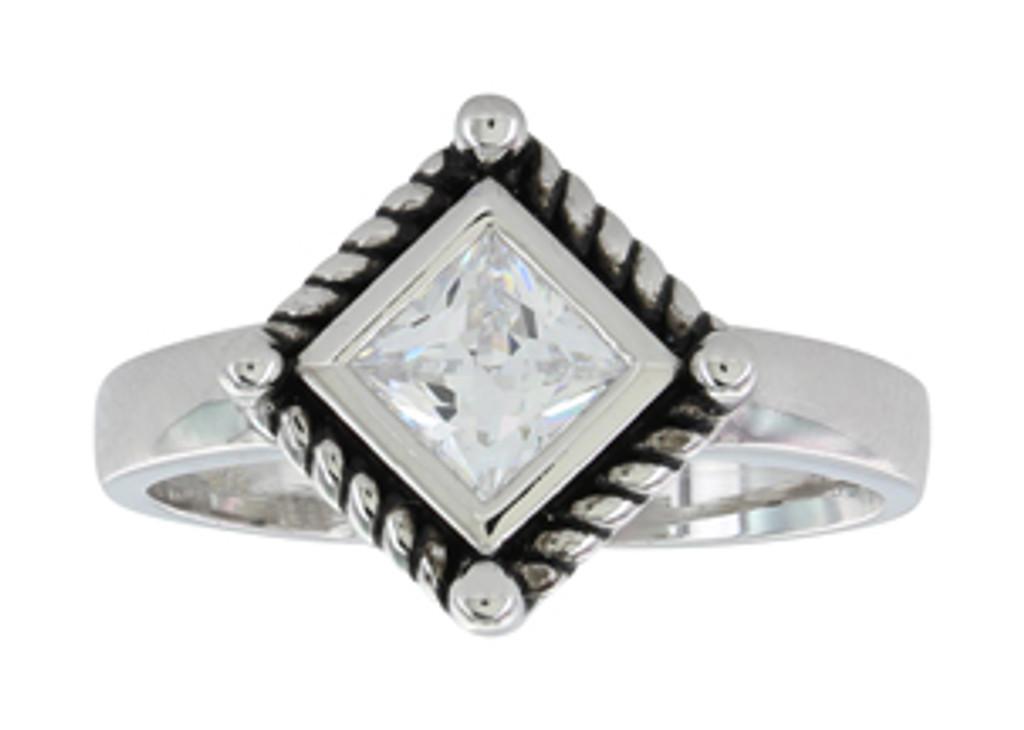 Montana Ring, Roped Clear CZ Princess Cut