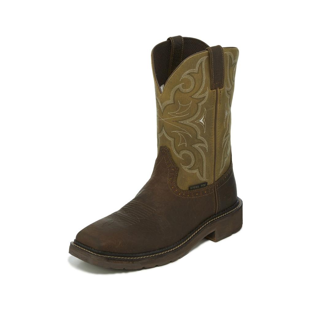 Men's Justin Work Boot, Brown Square Toe, Short Olive Shaft, Steel Toe