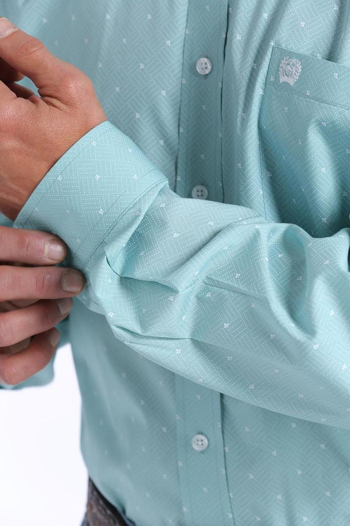 Men's Cinch L/S, Light Blue with White Print