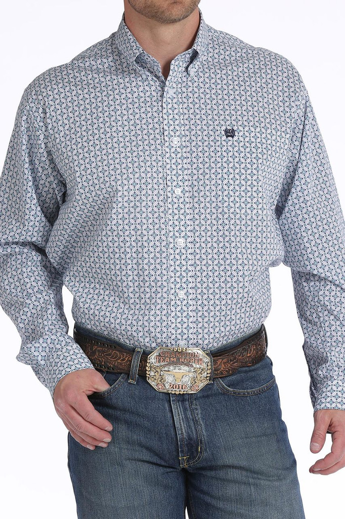 Men's Cinch L/S, White with Blue and Turquoise Print