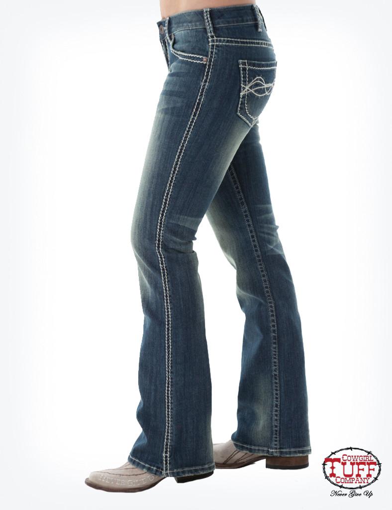 Women's Cowgirl Tuff Jean, Don't Fence Me In, Cream