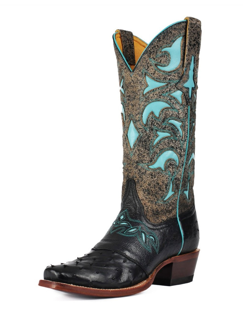 Women's Cinch Boots, Black Ostrich with Turquoise Inlay Tops, Snip Toe