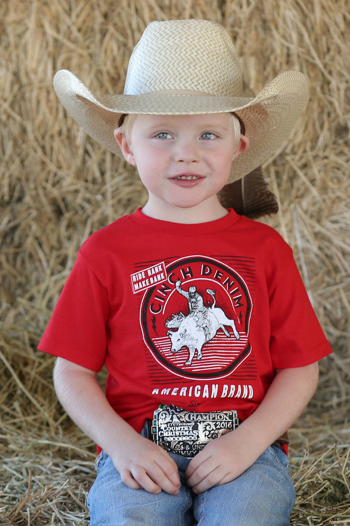 Infant Cinch Tee, Red with White Logo