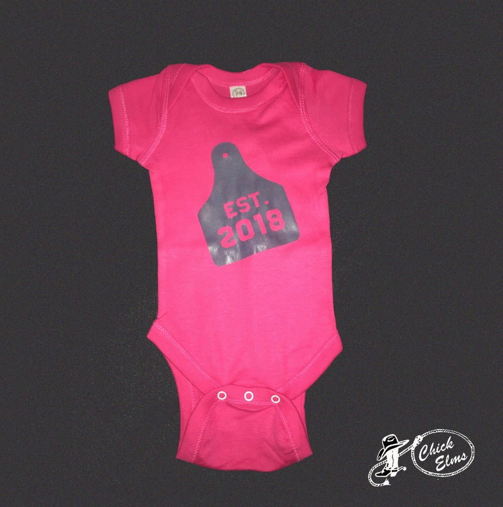 Infant Whole Herd Onesie, 2018 Ear Tag, Hot Pink