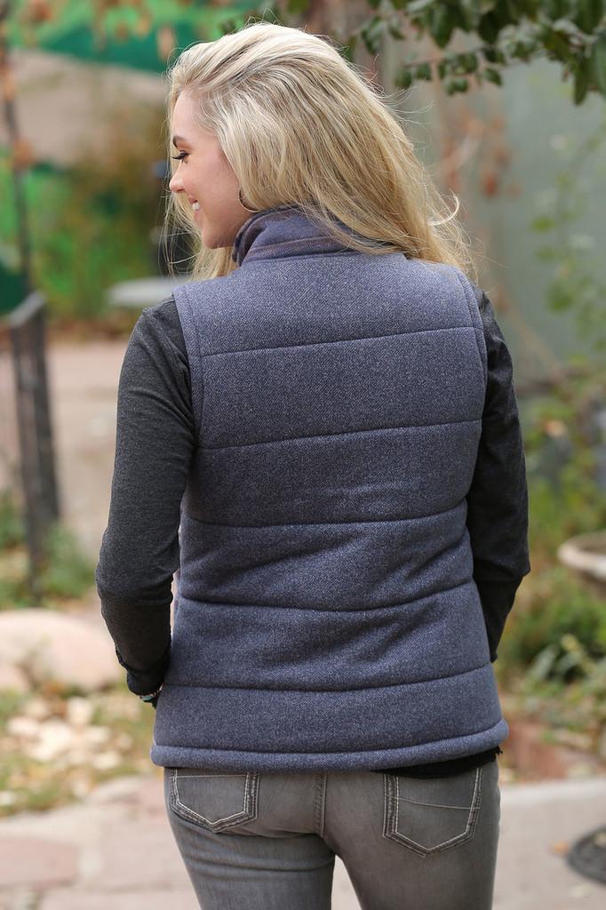 Women's Cruel Girl Vest, Tweed Gray with Aztec Front
