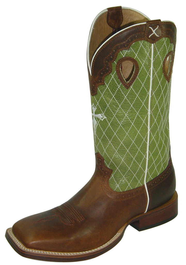 Men's Twisted X Boot, Cogniac/ Lime Green w/ Cross