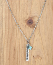 West & Co. Necklace, Silver Blessed Bar, Turquoise Charm