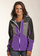 Women's Powder River Jacket, Black and Purple, Bonded