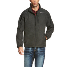 Men's Ariat Jacket, Vernon, Softshell, Black with White Gridlines