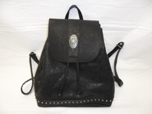 Most Wanted USA Backpack, Black with Turquoise and Silver Concho