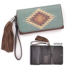 Women's Blazin Roxx Wallet, Zapotec, Turquoise with Aztec Design