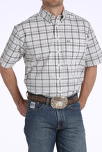 Men's Cinch S/S, Arena Flex, White with Gray Plaid
