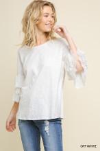 Women's Umgee Top, Layered Crochet Bell Sleeve