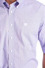 Men's Cinch S/S, Purple and White Checkered Print