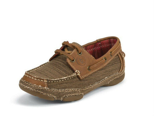 Women's Tony Lama Boat Shoe, Brown Canvas w/ Leather