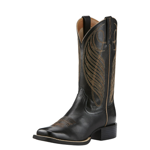 Women's Ariat Boot, Black w/ Gold Stitching, Square Toe