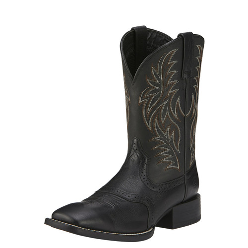 Men's Ariat Boot, Black Sport Western, Square Toe