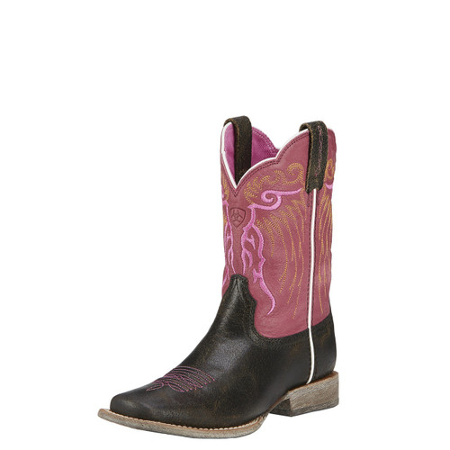 Kids Ariat Boot, Black, Square Toe, Pink Top