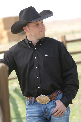 Men's Cinch L/S, Solid Pinpoint Black