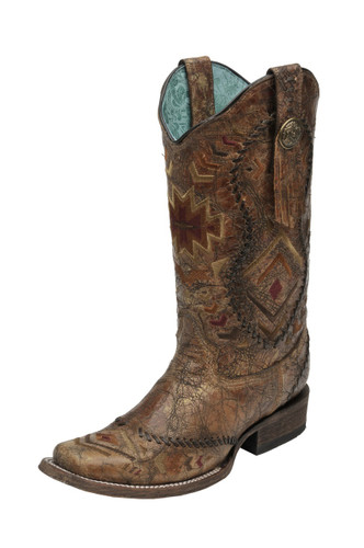 Women's Corral Boot, Cognac with Whipstitch, Aztec Print
