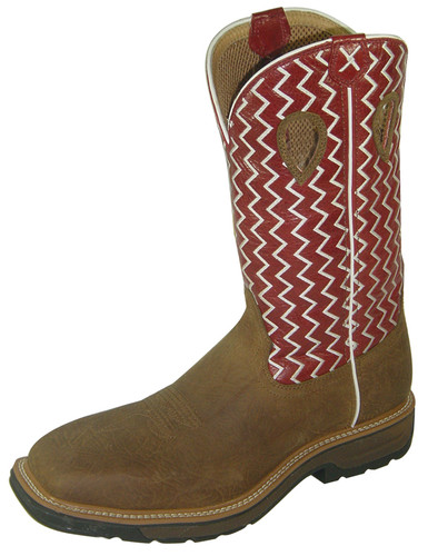 Men's Twisted X Steel Toe Boot, Red White Zig Zag/ Distressed Brown, Wide Square Toe