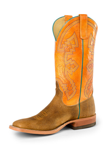Men's Anderson Bean Boot, Orange w/Turqouise, Red Stitching/ Distressed Tan