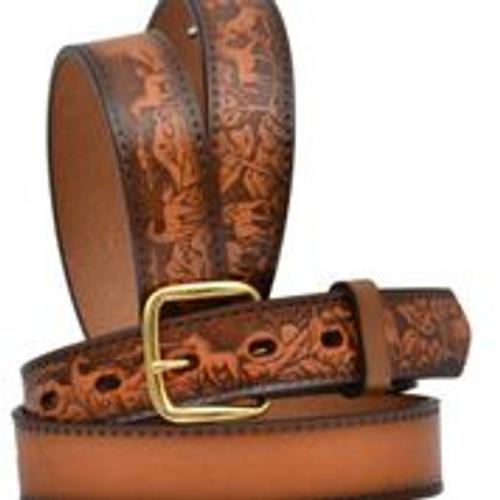 Kids 3D Belt, Light Brown Leather Tooling