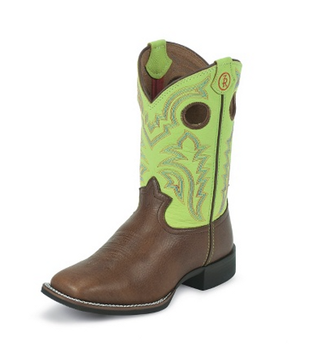 Kids Tony Lama Boot, Brown/Lime Green Tops