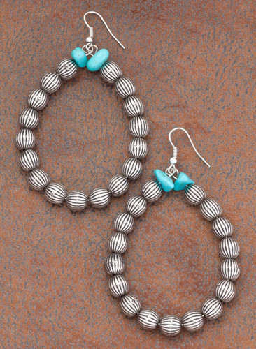 West & Co. Earrings, Silver Balloon Beads, Turquoise Stones