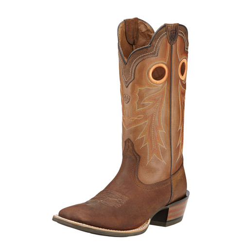 Men's Ariat Boot, Wildstock Brown with Orange Stitch, Riding Heel