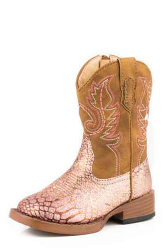 Kids Roper Boots, Pink/ Gold Glitter