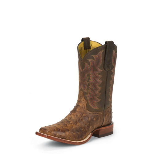 Men's Tony Lama Boot, Full Quill Ostrich, Chocolate Vintage San Saba
