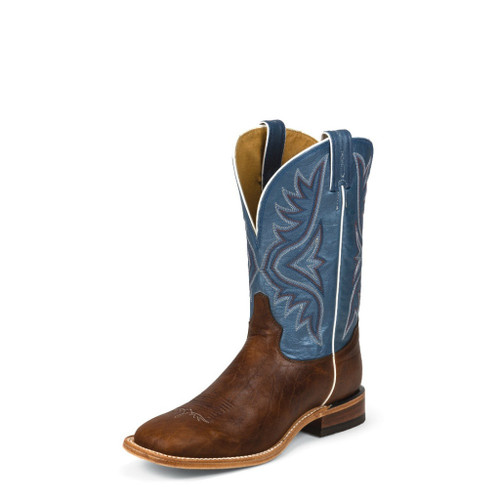Men's Tony Lama Boot, Brown Bison/ Blue, Wide Square Toe