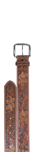 Kids WFA Ranger Belt, Brown with Floral Tooling