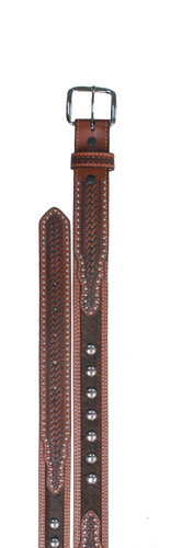 Kids WFA Ranger Belt, Brown Cowhide with Silver Studs