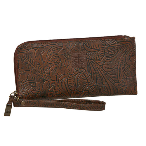 Women's STS Wristlet Clutch, Chocoalate Tooled