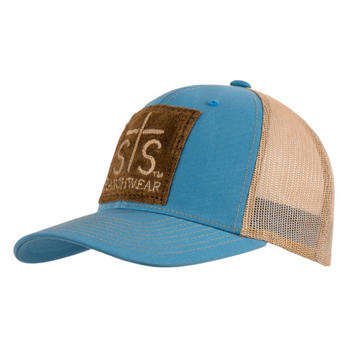 Men's STS Cap, Blue and Khaki, Leather STS Patch