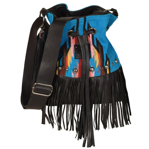 Women's STS Purse, Blue Aztec with Fringe