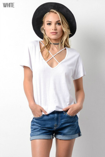 Women's Wishlist Apparel Shirt, Criss Cross, Short Sleeve