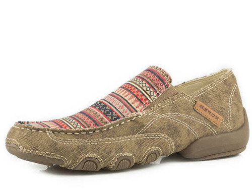 Women's Roper Shoe, Tan with Aztec Top