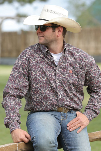 Men's Cinch L/S, Coral and Burgandy Print