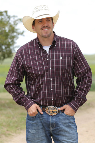 Men's Cinch L/S, Maroon Plaid