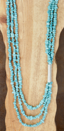 West & Co. Necklace, 3 Strand Turquoise Disk Beads