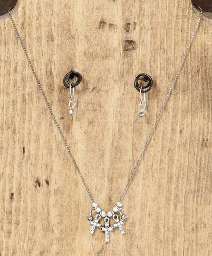 West & Co. Necklace and Earrings, 3 Silver Crosses