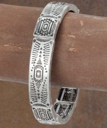 West & Co.Bracelet, Silver with Aztec Imprint