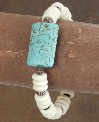 West & Co. Bracelet, Ivory Disk Beads with Rectangular Turquoise Stone