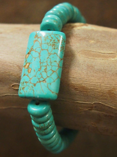 West & Co. Bracelet, Turquoise Disk Beads with Rectangular Turquoise Stone